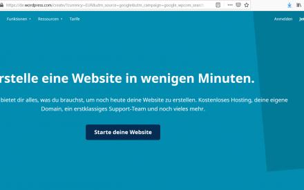 Sceenshot der Webseite WordPress.com